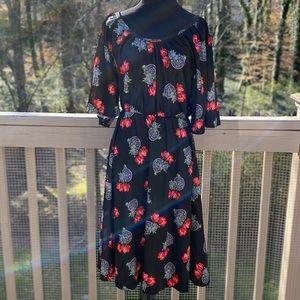 Vintage 70s 80 Floral Flutter Sleeve Peasant Dress
